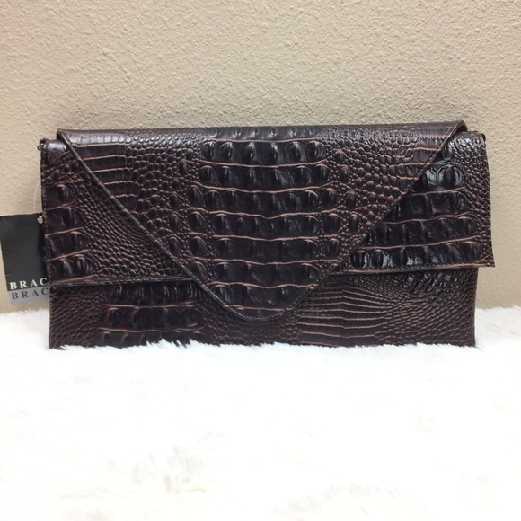 well known skate shoes hot sale Chocolate Brown Crocodile Clutch Purse NWT